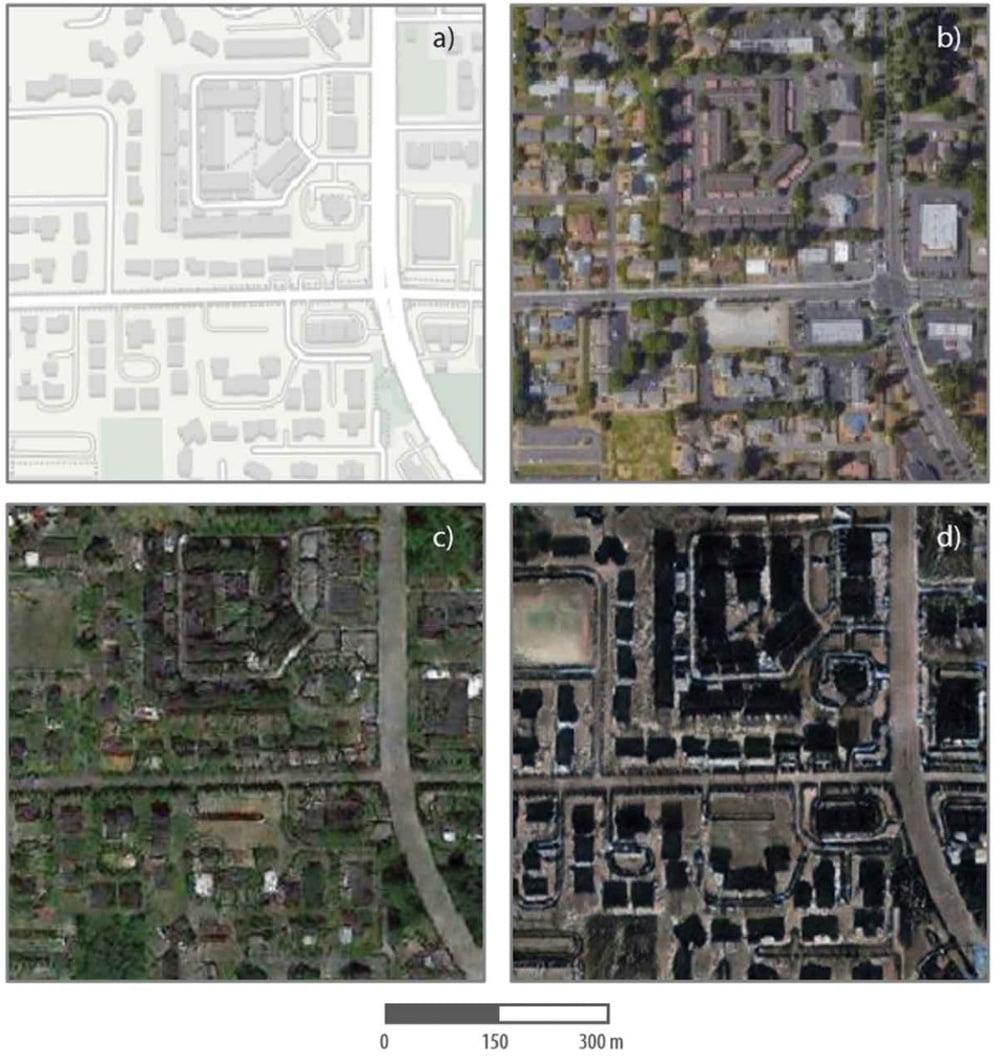 Das Bild oben links zeigt die Basiskarte der Forscher, das rechte das dazu passende Satellitenbild.