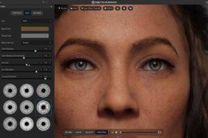Screenshot eines Baukastens, indem gerade ein Digitalmensch zusammengeklickt wird. Man sieht die realistischen Augen.