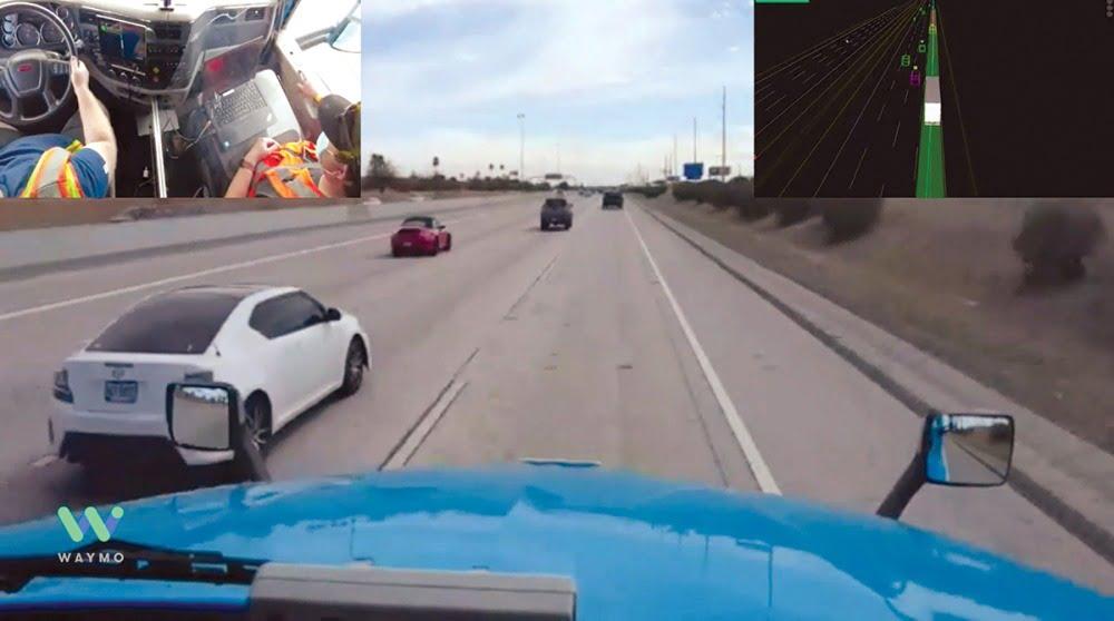 Der Blick durch das Cockpit eines autonom fahrenden Trucks.
