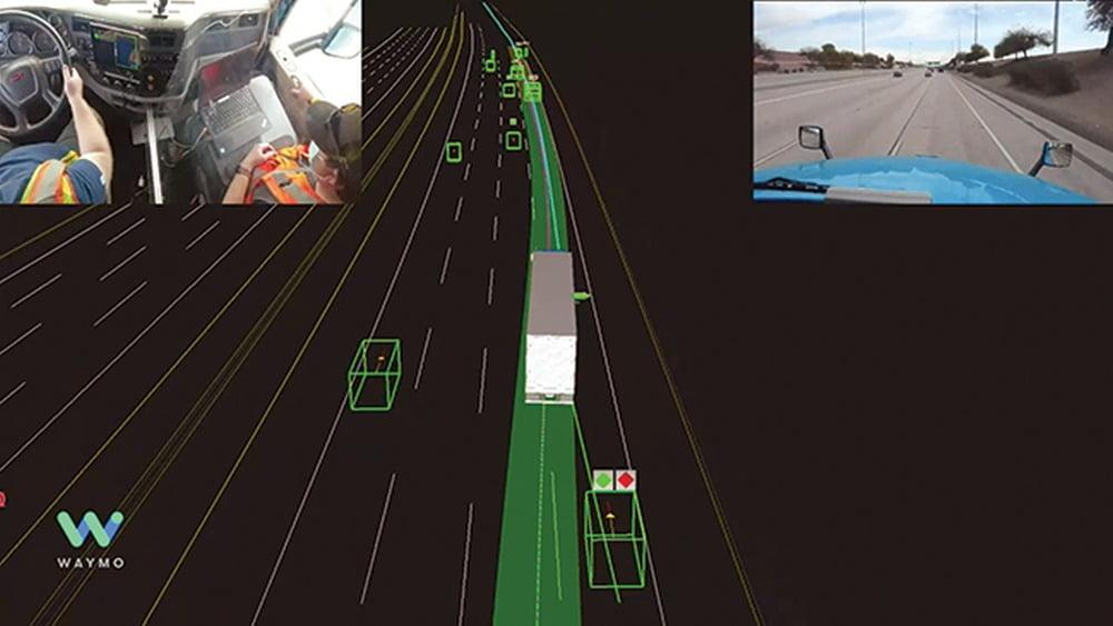 Eine digitale Karte, die Umgebungsdaten für ein KI-System zum autonomen Fahren anzeigt.