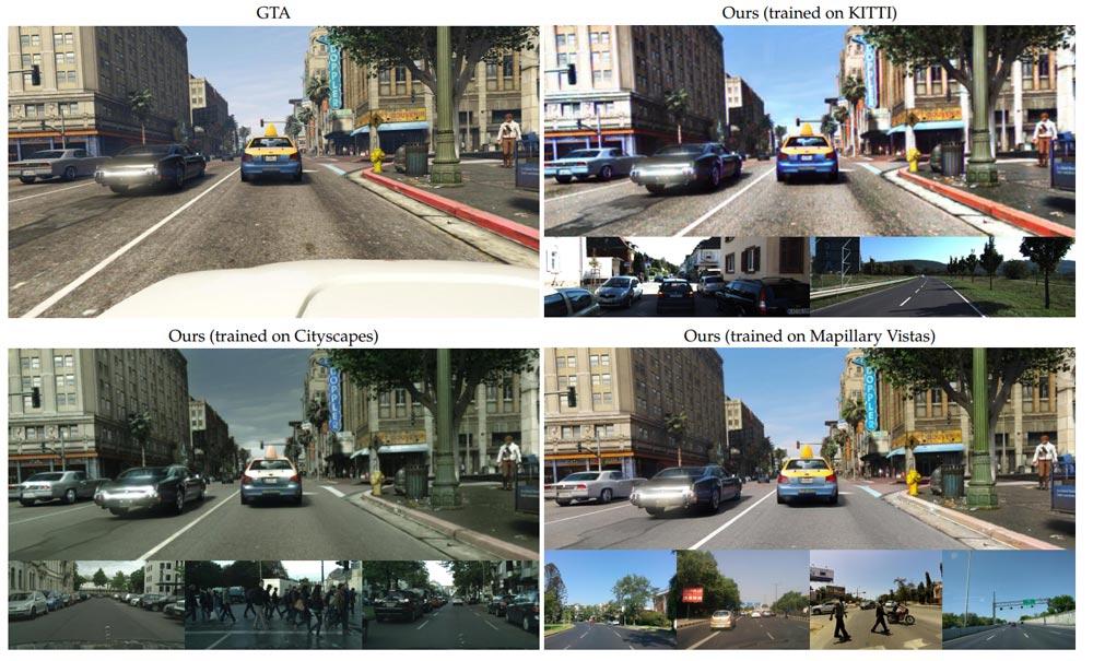 Je nach Trainingsdatensatz unterscheidet sich die KI-Grafikausgabe stark. Der Cityscapes-Datensatz unten links orientiert sich am deutschen Klima und Verkehr.   Bild: Intel Labs