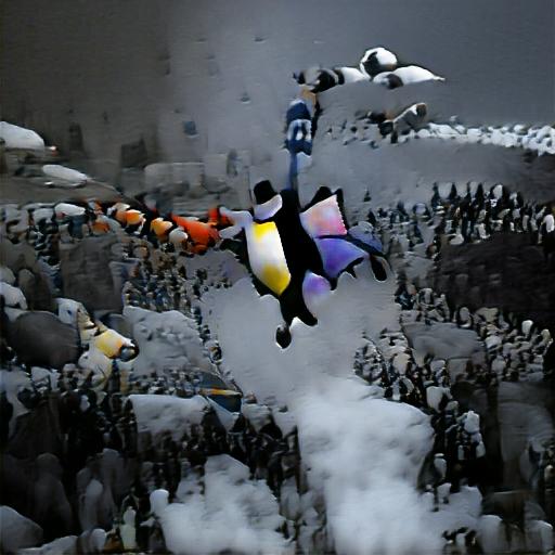 "Verwendete Beschreibung: ""a flying penguin over his friends"""