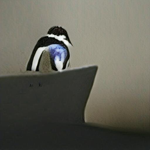 """Verwendete Beschreibung: """"a penguin browsing the internet"""""""