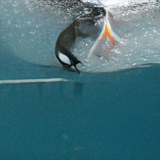 """Verwendete Beschreibung: """"a swimming penguin catching fish"""""""