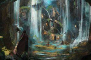 Ein Magier schaut in das Innere einer verwunschenen Höhle.