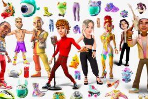 Viele digitale Avatare, Masken und Güter wie Masken stehen in einem Bild. Das Bild ist sehr bunt, die Avatare erinnern an Comic-Figuren.
