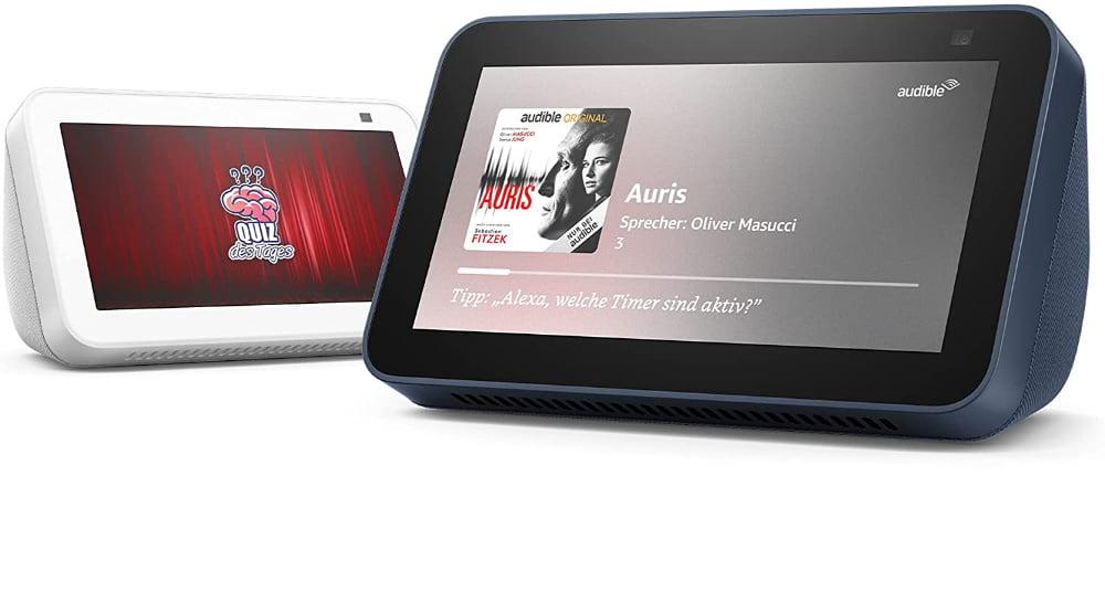 Das neue Alexa-Smart-Display Echo Show 5 (2. Generation) in weiß und blau.
