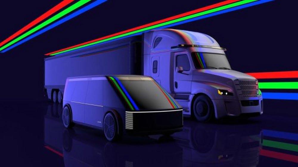 Ein Konzept für autonom fahrende Autos und Trucks mit dem Luminar Lidar-Sensor Iris im Blade-Design.