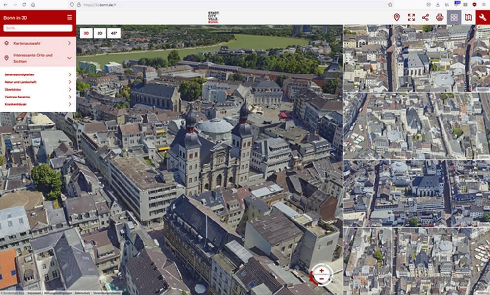 Mehrfachfensteransicht in der digitalen 3D-Karte Bonn in 3D