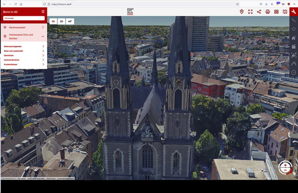 Stiftskrische Bonn in der digitalen Karte Bonn in 3D