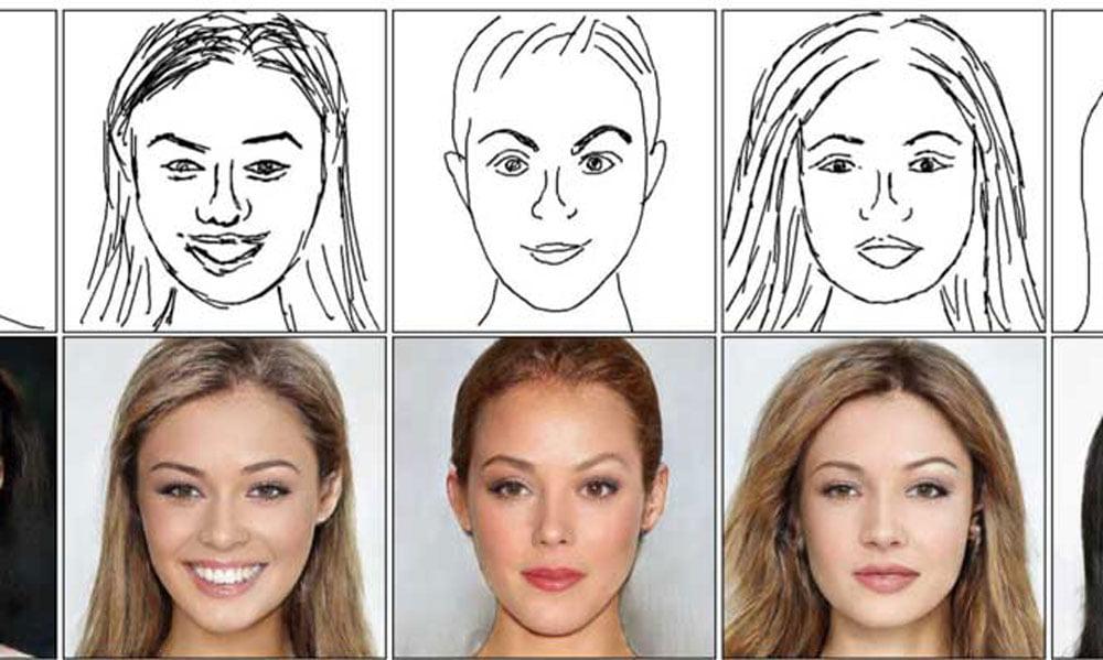 Eine Künstliche Intelligenz generiert aus einfachen Strichzeichnungen fotorealistische Gesichter. Die neue Methode ist weitaus effektiver als bisherige Ansätze und macht selbst aus wirrem Gekritzel noch ein glaubhaftes Porträt.