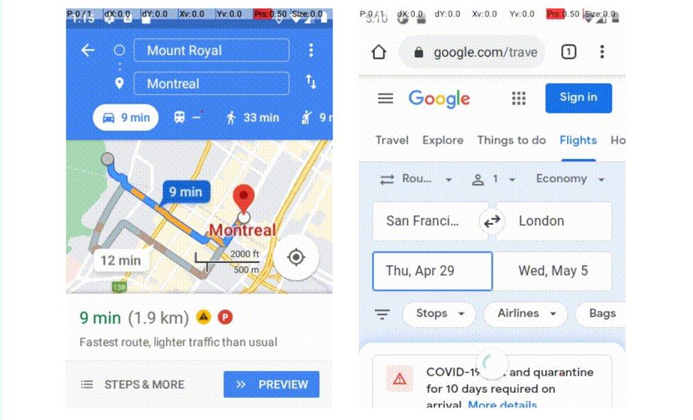 Zwei Screenshots von Android-Interaktionen auf Google Maps und der Google Suche