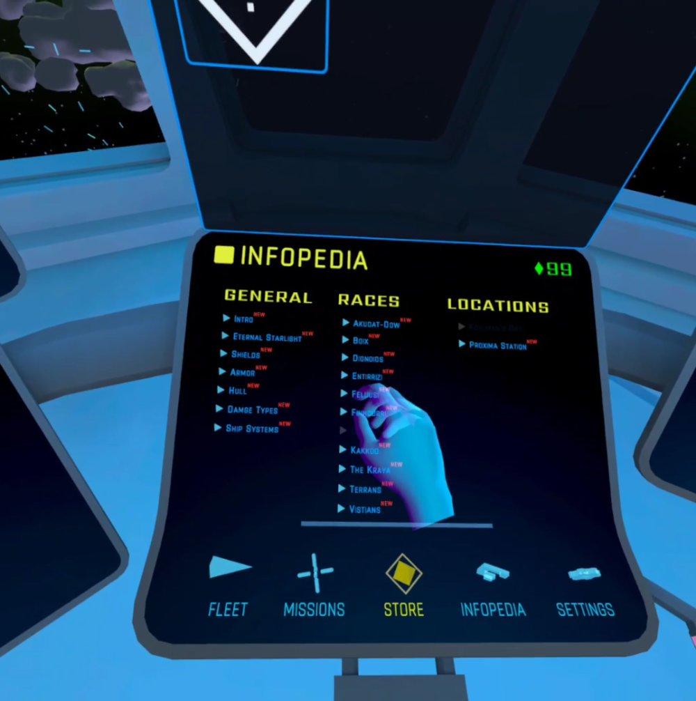Das Auswahlmenü Infopedia im VR-Spiel Eternal Starlight für die Oculus Quest 2.
