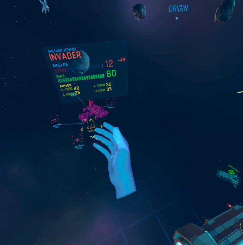Ein Raumschiff im VR-Spiel Eternal Starlight auf der Oculus Quest 2.