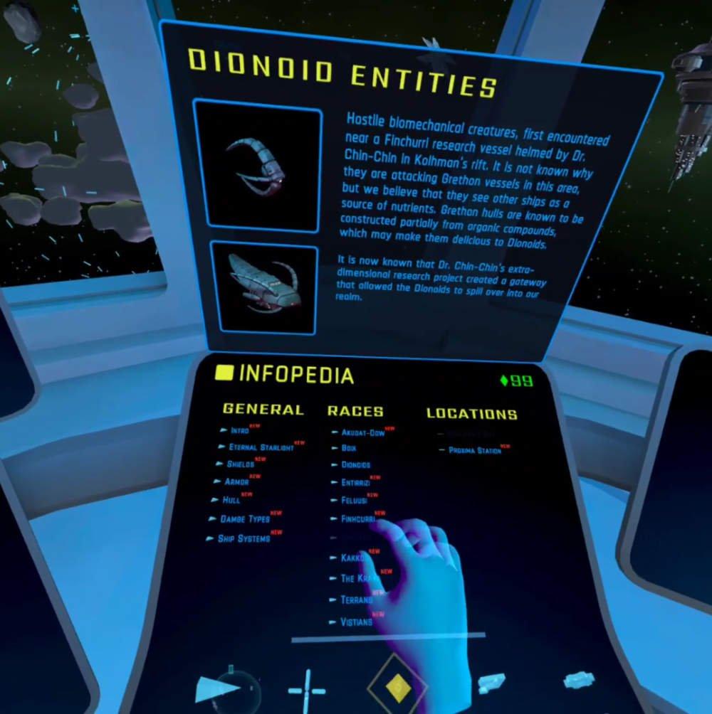 Das Infopedia im VR-Spiel Eternal Starlight.