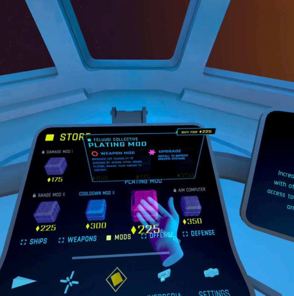 Der Ingame-Shop im VR-Spiel Eternal Starlight auf der Oculus Quest 2.
