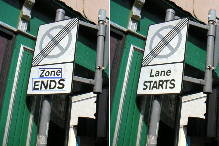 Die Beschriftung eines Parkverbotsschilds wurde digital ausgetauscht, sodass es so aussieht, als dürfe man parken - dabei ist es eigentlich verboten.
