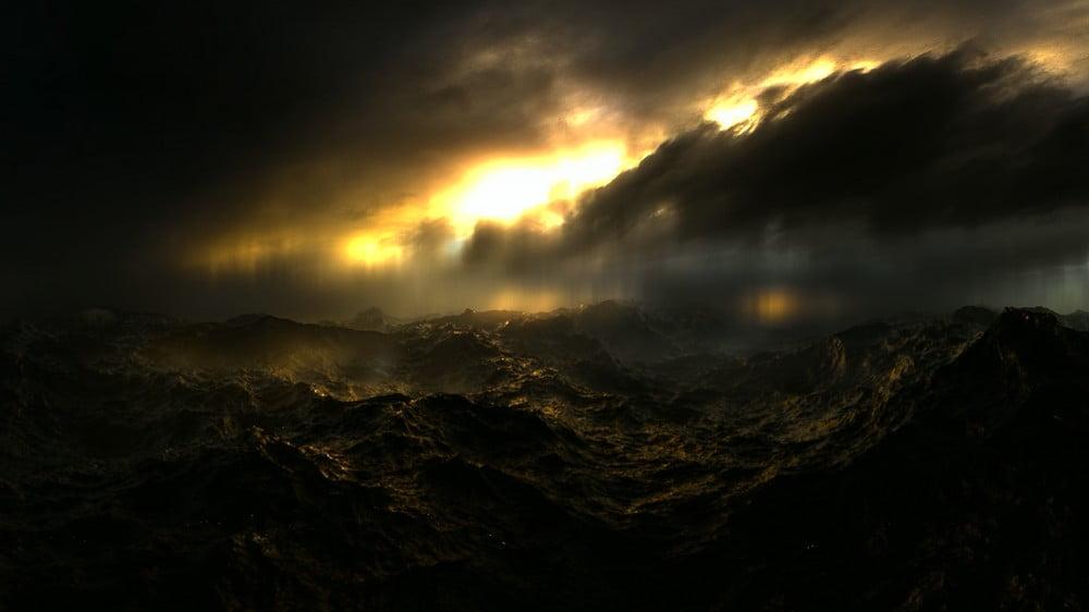 Aufgewühlte Wasseroberfläche einer Erde ohne Leben im VR-Film Genesis VR