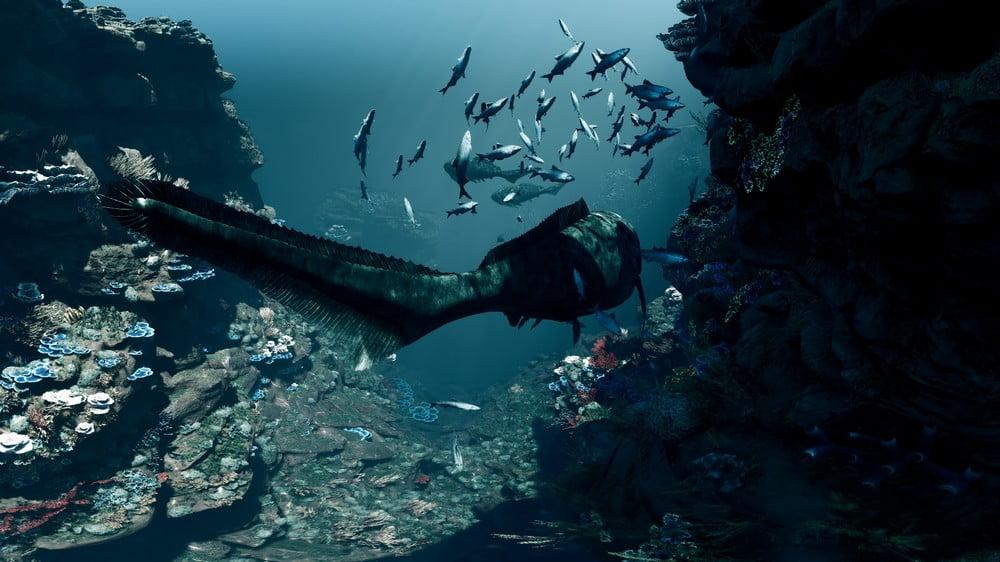 Urzeitfische schwimmen in einer Unterwasserwelt der Vorzeit an uns vorbei im VR-Film Genesis