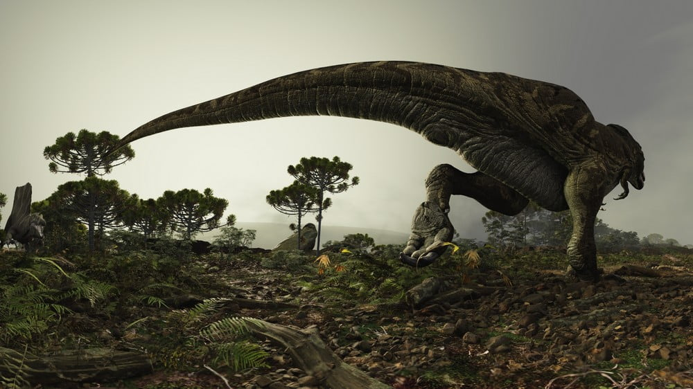 Dinosaurier in grüner Landschaft im VR-Film Genesis VR