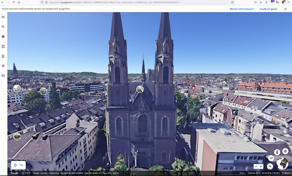 Stiftskirche Bonn in Google Earth View
