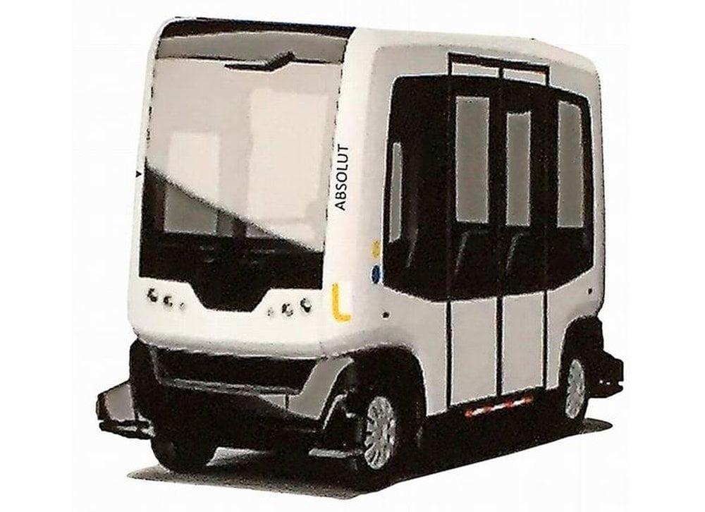 Ein elektrisch betriebener Kleinbus mit autonomer Fahrfunktion.