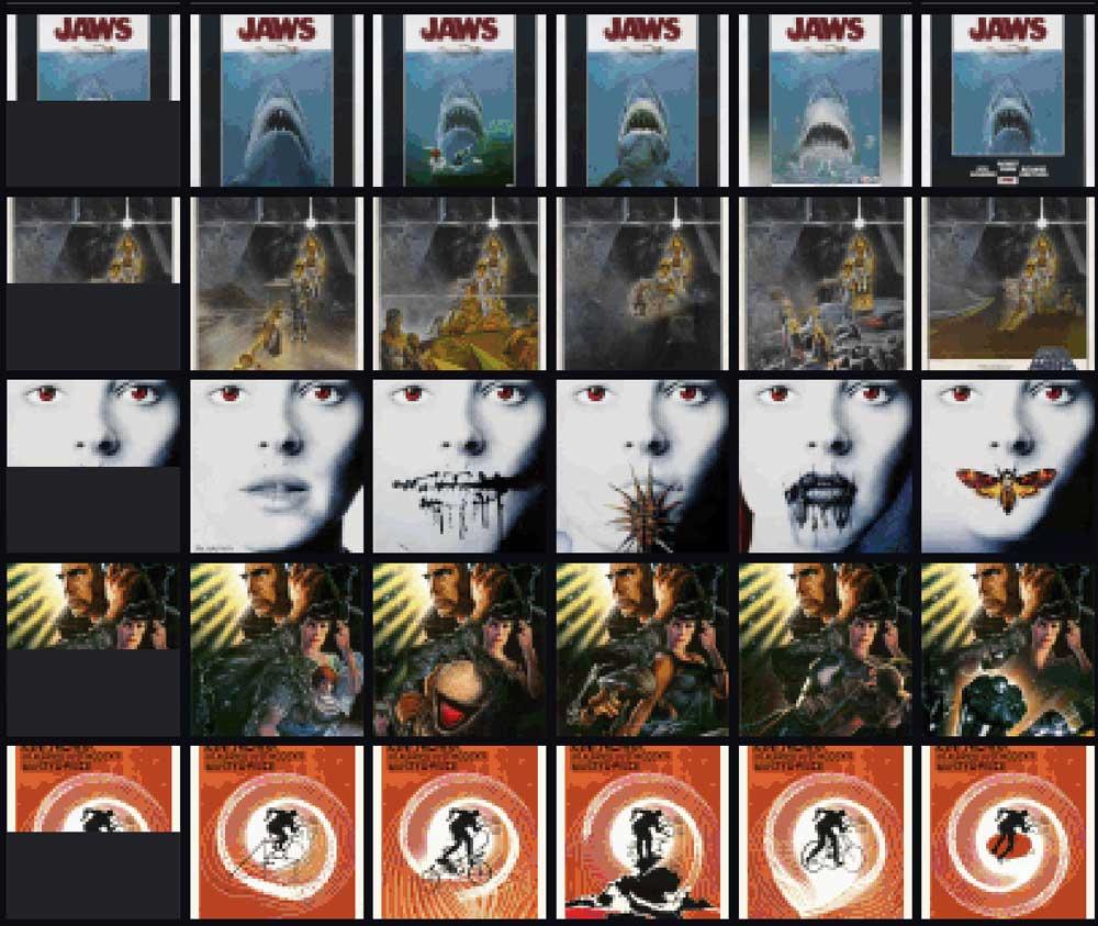 OpenAIs Image GPT produziert auch ein paar interessante Filmplakat-Varianten von absoluten Klassikern wie Blade Runner. | Bild: OpenAI.