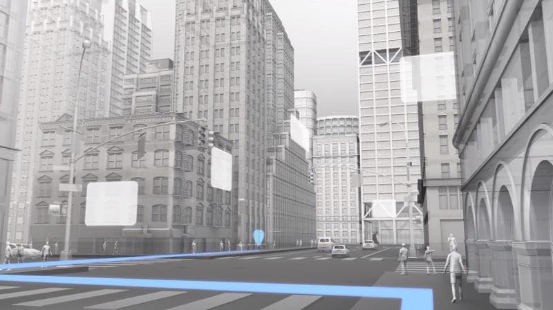 Navigation und digitale Hinweisschilder: So stellt sich Facebook die Zukunft mit AR-Brille vor. | Bild: Facebook