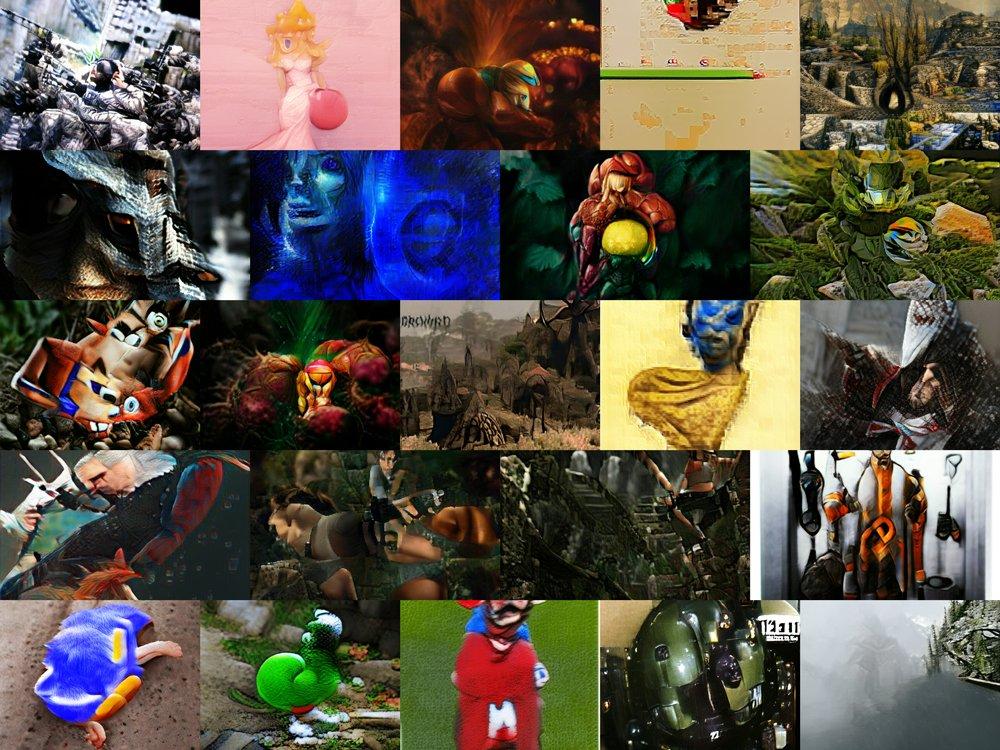 Mehrere KI-generierte Bilder von Gaming-Figuren