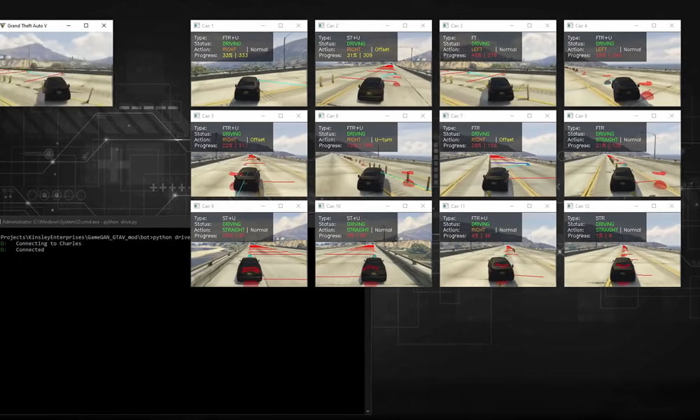 Die Entwickler ließen zahlreiche Bots die GTA 5-Spielwelt abfahren. So sammelten sie die Daten für das KI-Training mit Game GAN.