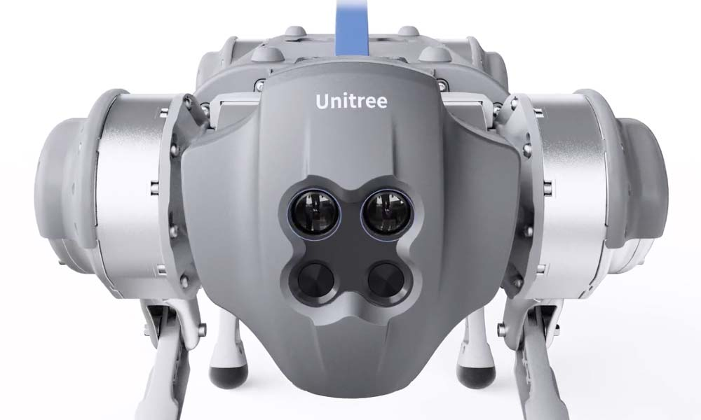 Ähnlich wie Spot orientiert sich Go1 per Computer Vision über zahlreiche Stereo-Kameras im Raum. Hinzu kommen Hyperschallsensoren. | Bild: Unitree Robotics