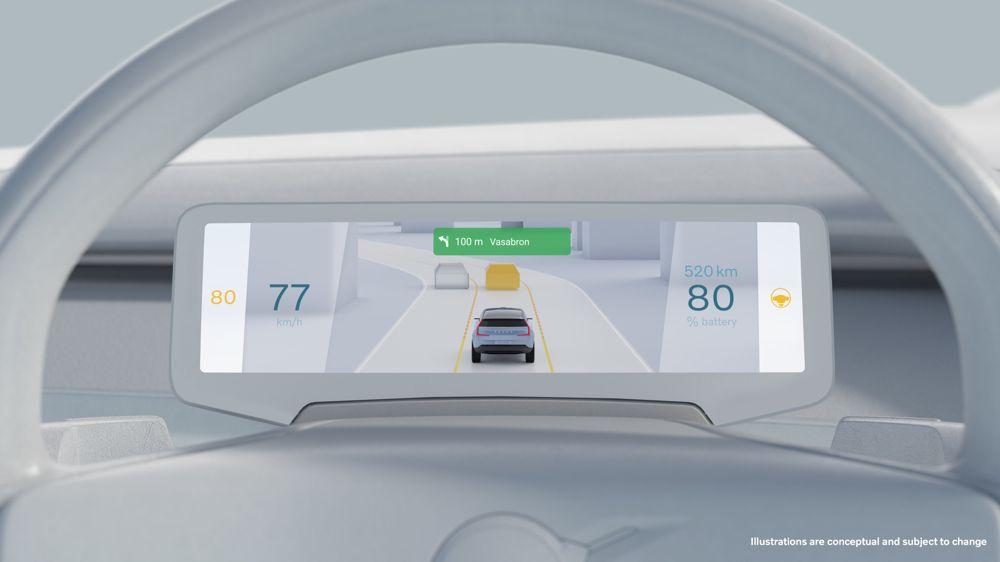 Eine Konzeptzeichnung der digitalen Instrumententafel künftiger Volvo-Autos.