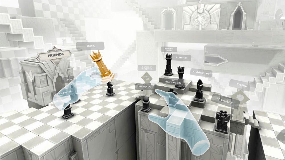 Virtuelle Hand bewegt Figur in der Lobby des VR-Spiels Chess Club