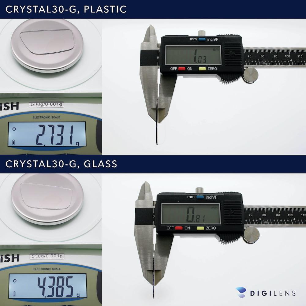 Digilens_Plastik_vs_Glas_Waveguide_Vergleich_Gewicht_Dicke