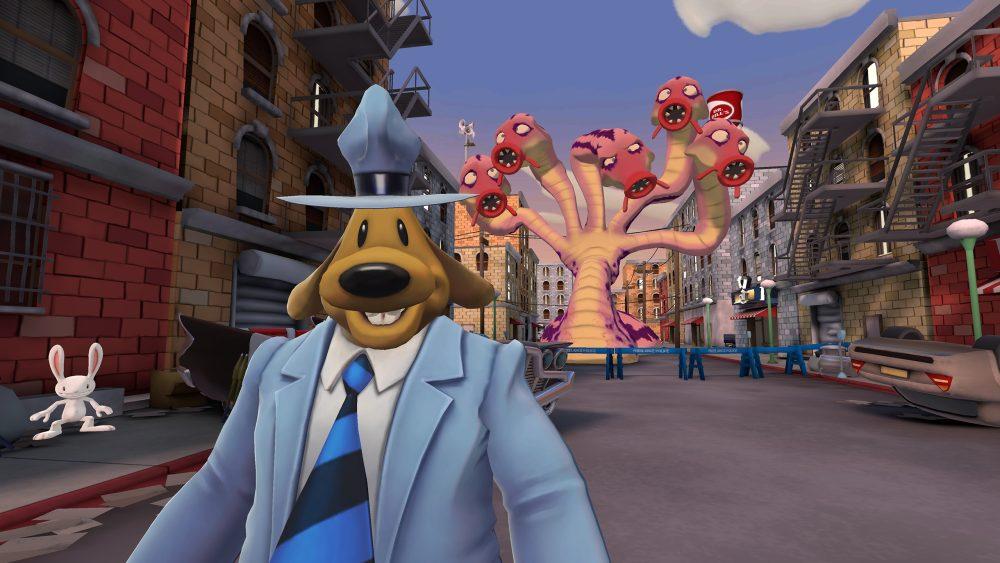 Comic-Held Sam steht vor einem riesigen Alien-Monster in Sam & Max: This Time It's Virtual