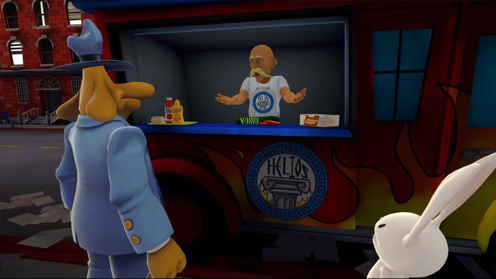 Sam & Max sprechen mit einem Imbissbudenverkäufer in Sam & Max: This Time It's Virtual.