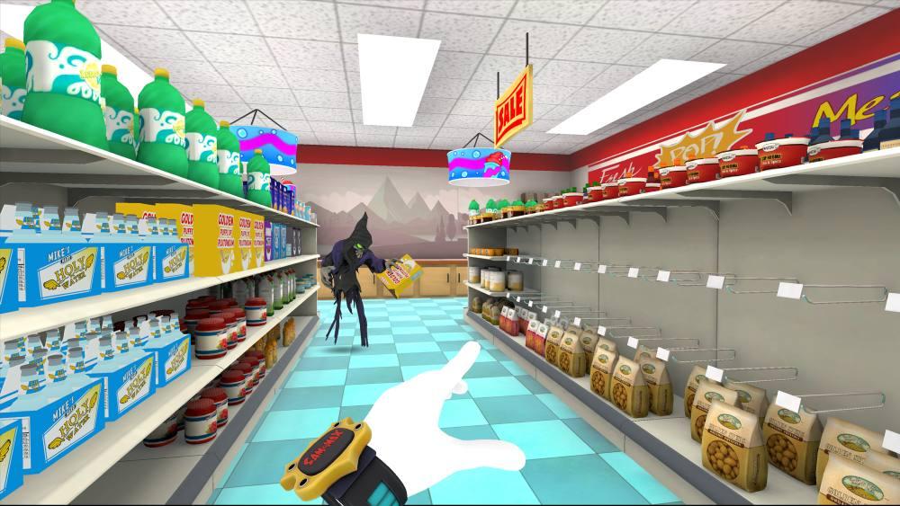 Ein Dämon durchsucht einen Supermarkt in Sam & Max: This Time It's Virtual.