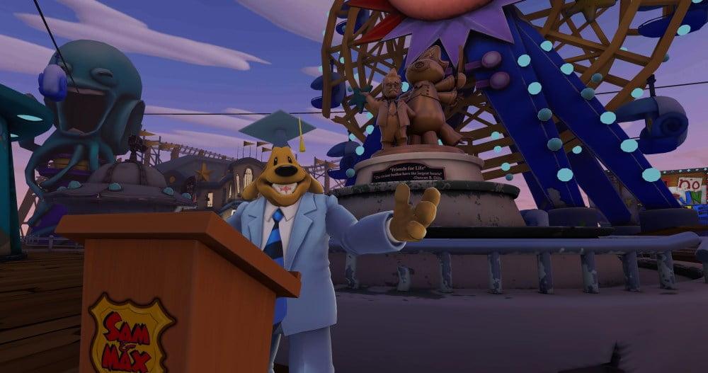Sam hält eine Ansprache in Sam & Max: This Time It's Virtual.