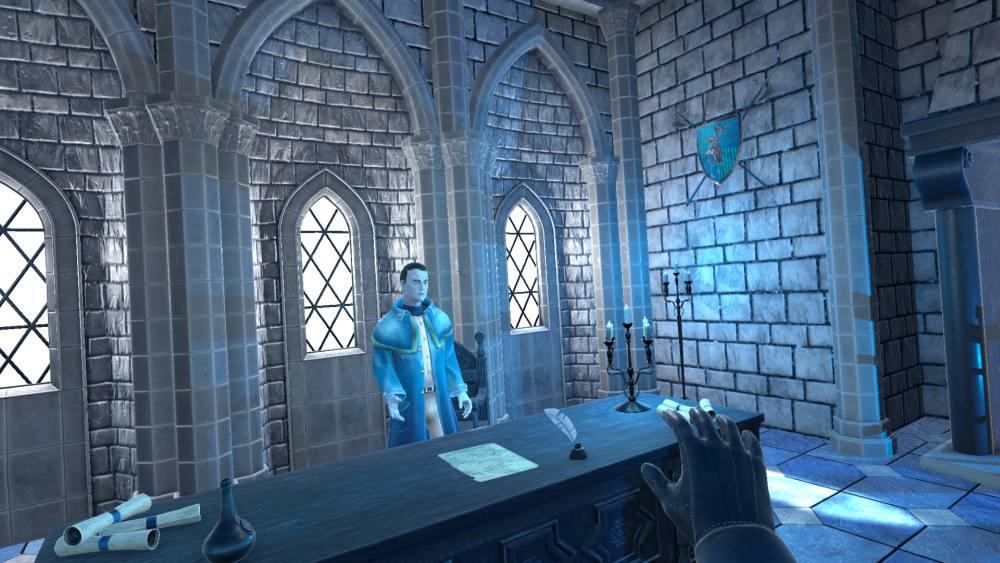 Im VR-Spiel Sentenced VR spricht der Bannwart mit dem Henker über eine Hinrichtung.