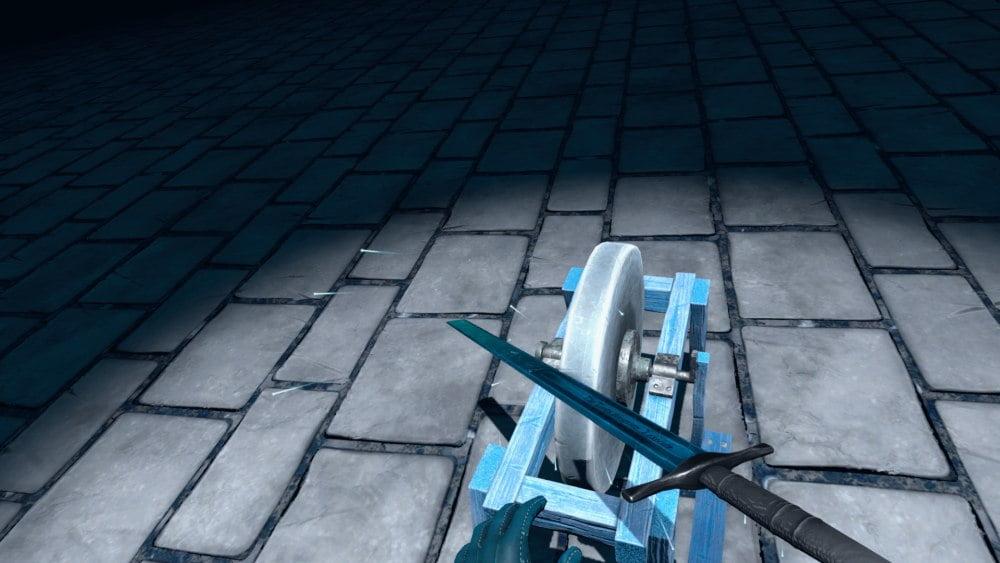 Der Henker schleift sein Schwert im VR-Spiel Sentenced VR.