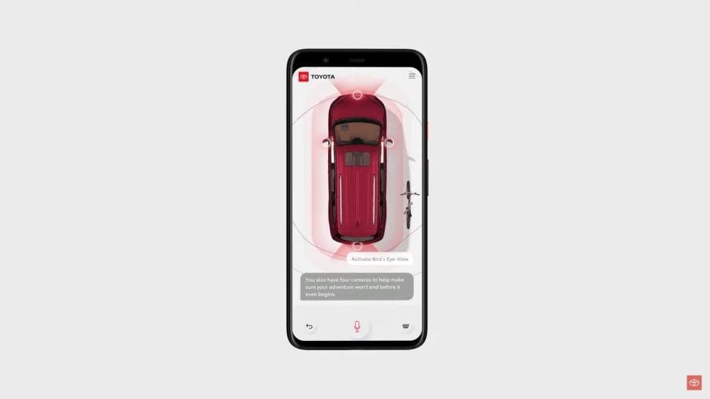 Die App Toyota Driver's Companion zeigt eine Interaktion mit der Sprach-KI Joya.