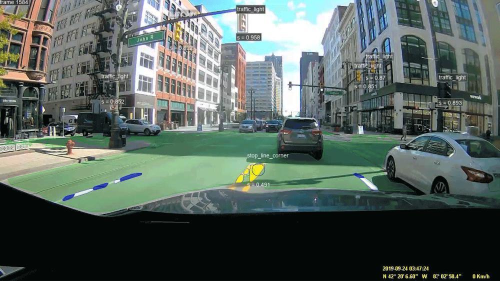 Ein autonomes Fahrsystem erfasst seine Umgebung.