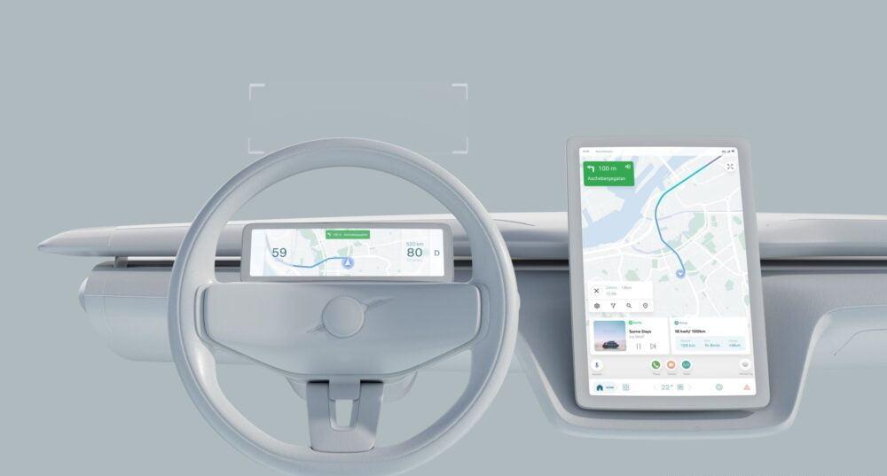 Eine Konzeptzeichnung der Anordnung von digitalen Anzeigen und Touchdisplays in Volvo-Fahrzeugen.