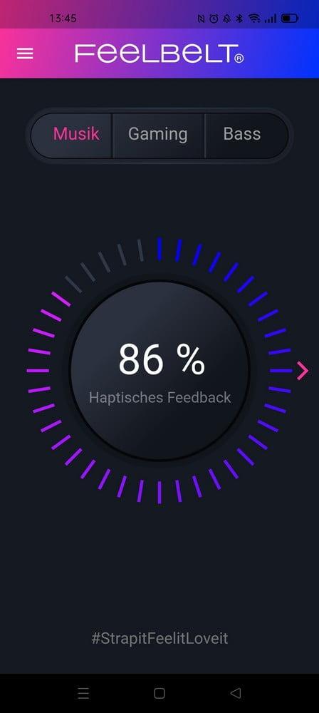 Screenshot der Feelbelt App mit Lautstärkesteuerung