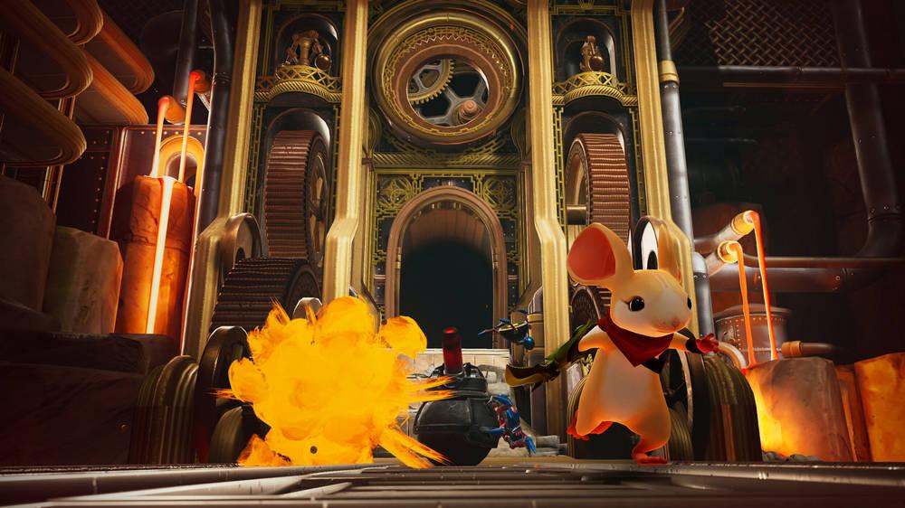 Die Maus Quill läuft im Schloss im VR-Spiel Moss: Book II einer Explosion davon