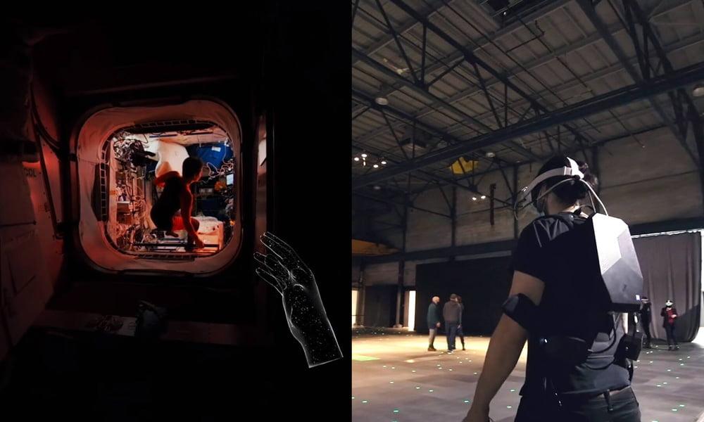 In der Realität durchwandern Besucher mit Rucksack-PC und VR-Brille eine große leere Halle. Virtuell durchschreiten sie dabei ein 3D-Modell der ISS und sehen 360-Grad-Originalaufnahmen. | Bild: PHI Studio