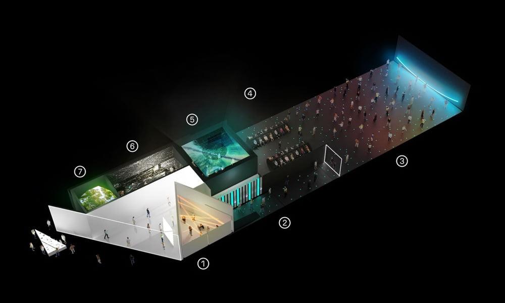 Die Reise zur ISS und zurück ist in sieben Kapitel aufgeteilt, die den Weltraumausflug multisensorisch und auch künstlerisch erforschen. Ein Highlight ist ein stilisiertes, betretbares 3D-Modell der ISS in Originalgröße. | Bild: PHI Studio