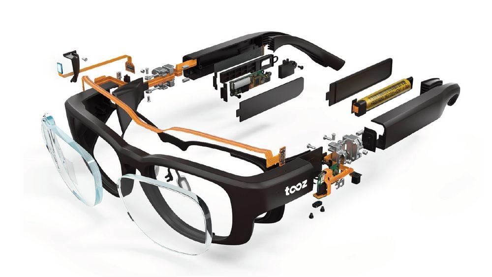 tooz Datenbrille in allen Einzelteilen