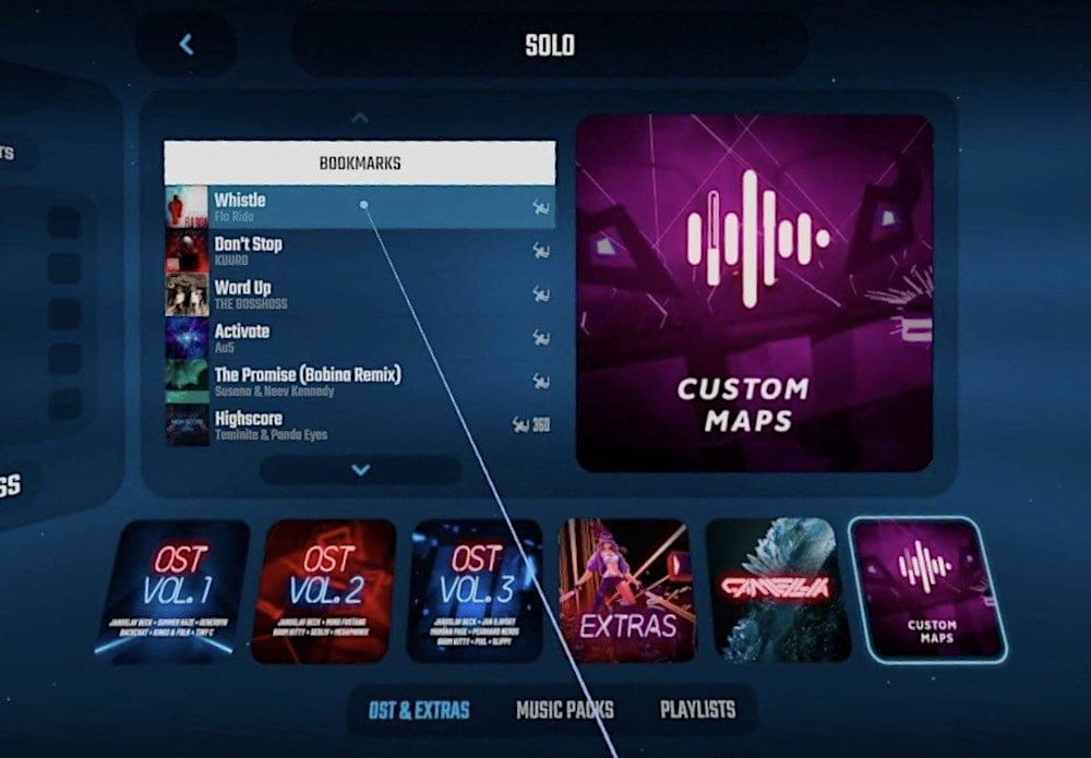 Das Beat Saber Menü mit Customs Songs Album.