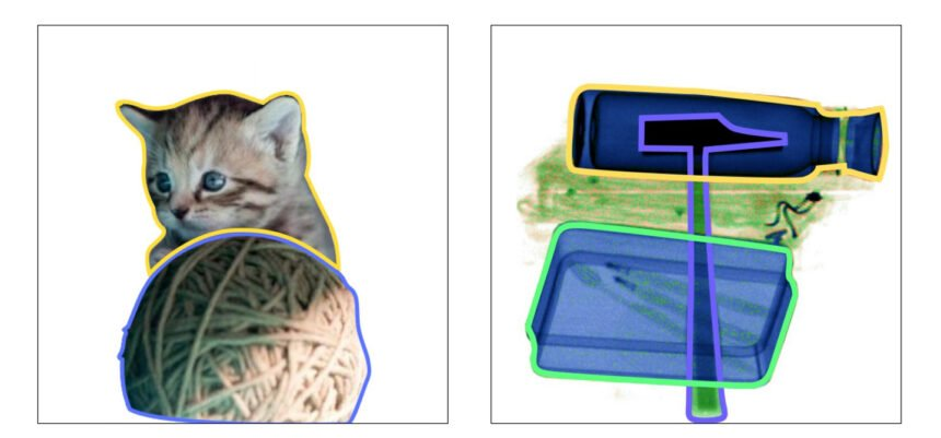 Wenn der Hammer eine Katze wäre, würde im zweiten Bild ihr Körper deutlich unter den anderen Objekten durchscheinen. | Bild: Wang et. al.